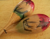 Vintage Mexican Maracas, wooden and colorful, latin musical instruments, rumba shakers
