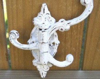 Retro Victorian style three-prong Shabby Chic cast iron swivel wall Hook or Coat rack