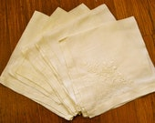 Set of 5 Vintage Light Yellow Linen Napkins
