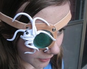 Octopus Leather Eye Patch with Sea Glass Pirate Steampunk Nature Costume