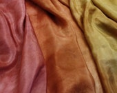 Roses garden - Hand dyed painted silk ponge 05  for nuno felting 1,5 metres