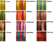 Tussah silk tops 40 grams - a set of 4 colours of your choice (10 grams each colour)