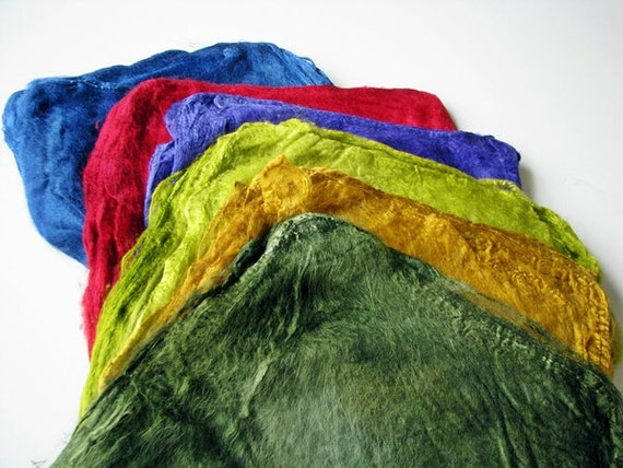 Silk hankies for nuno felting 40 grams - a set of 4 solid colours of your choice (10 grams each colour)