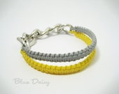 Double the Charm Bracelet in Grey and Soft Yellow (The listing is for One Bracelet - Gimp and Chunky Silver Chain)