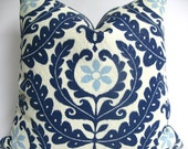 Designer Decorative Blue and White Suzani Outdoor Pillow Cover, 18x18, 20x20, 22x22  or lumbar,  Throw Pillow