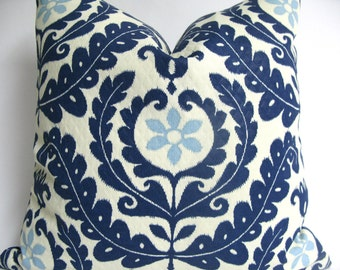 designer decorative blue and white suzani outdoor pillow cover 18x18 20x20 22x22 or - Blue Decorative Pillows