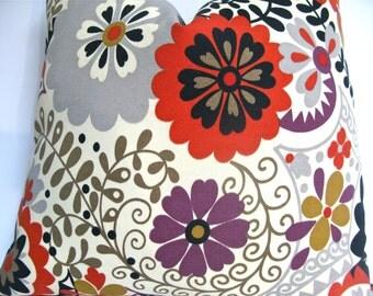 Decorative  Mod Floral Indoor Outdoor, Gray, Taupe 18x18, 20x20, 22x22 or Lumbar Throw Pillow