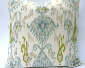 Designer Decorative Ikat Robert Allen Pillow Covers - Blue, Aqua, Taupe, Chartreuse, Green. Throw Pillow