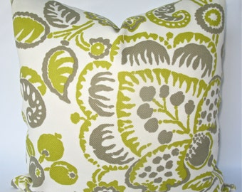 Decorative Designer Indoor Outdoor Jacobean Pillow Cover, 18x18, 20x20, 22x22, Chartreuse, Taupe, Grey Throw Pillow