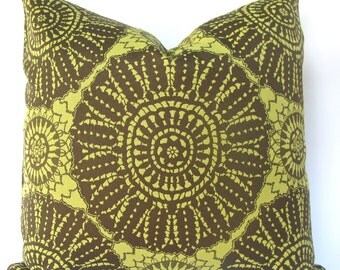 SALE, SALE, SALE, Decorative Designer Suzani Indoor Outdoor Pillow Cover, Brown Chartreuse, 18x18, 20x20, Throw Pillow