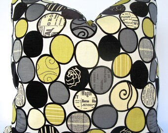 SALE - Decorative Designer Mod Retro Pillow Cover,  18x18, 20x20, Yellow, Grey, Black, Swirls and Circles, Throw Pillow