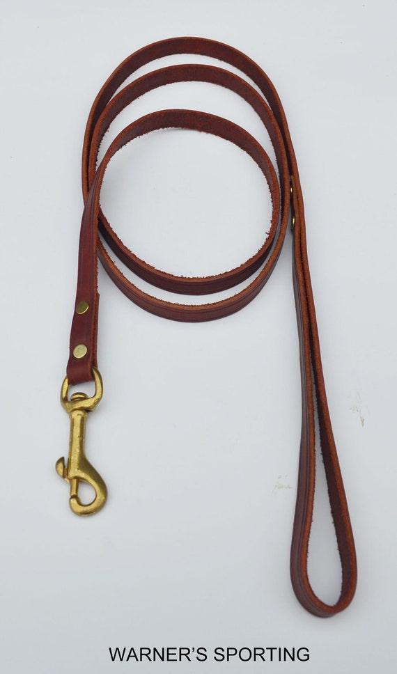 "Warner 6 foot latigo leather dog leash snap lead 1/2"" width"