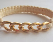 Ivory Suede Cobra Braid Bangle With Gold Chain