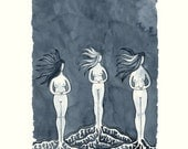 Rooted Here, Blue Watercolor Giclee Print