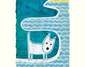 West Highland Terrier on a Walk to the Beach Giclee Print
