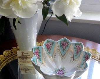 Beautiful Antique Austrian Three Footed Scalloped Bowl- Bone China