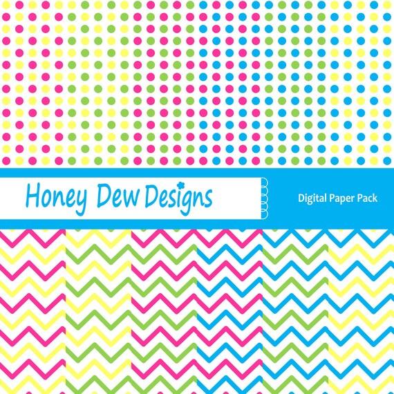 Digital Paper Pack 108 - Light Chevron and Polka Dot Patterned Paper