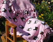 RESERVED FOR Hilary Smith's - Adorable Soft Pink Fleece Penguin Baby Blanket