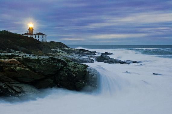 Fine Art Lighthouse Landscape Seascape Photo Print Sunrise Surf Rocks Rhode Island Beavertail Artistic Coastal Chic Home Decor