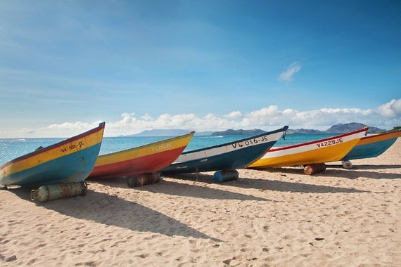 Beach Art Caribbean Fishing Boats Giclee Photo Limited Edition Print Ocean Sea Tropical St Kitts Nevis Travel Photo Fine Art Wall Decor
