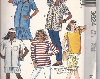Vintage McCalls 3624 MATERNITY Tops, Culotte and Pants - For Strech Knits Only  Size Small   1988
