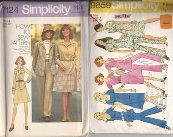 Vintage SIMPLICITY 7124 Misses Shirt Jacket, Short Skirt and Wide leg Pants 1975 AND 9859 Misses dress or Tunic and Pants 1972 Size 14
