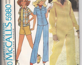 Vintage McCalls 5980 Misses Shirt, Jacket and Pants or Shorts  Size 14  1978 UNCUT