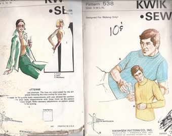 Vintage Kwik Sew 635 Straight Leg Pants  size 6 8 10 12  AND 538  Mens pullover s m l xl  1970s