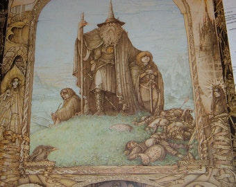 """6 VINTAGE Lord of the Rings Art posters by James Cauty 27"""" x 39""""  1988"""