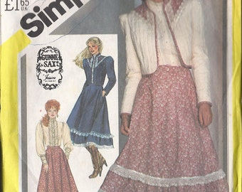 Vintage SIMPLICITY Pattern 5491 Misses Skirt, Blouse and Unlined Quilted Jacket Size 12  1982