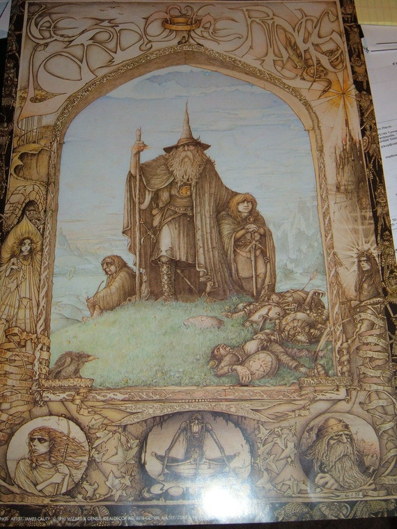 """Lord of the Rings Art poster by James Cauty 13.5"""" x 19.5""""  1988"""