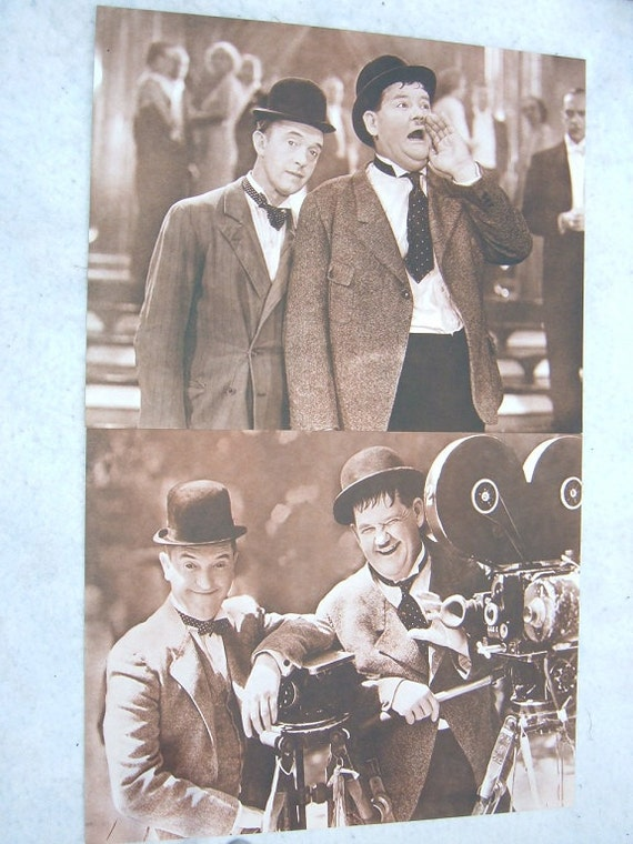 2 LAUREL & HARDY prints 11x14 Sepia Set 1   1970s