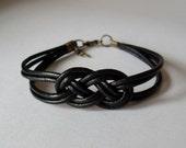 Leather Sailor Knot Bracelet - Black Leather Strap Bracelet with Sailor Knot - Simple and Stylish