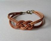 Leather Sailor Knot Bracelet - Natural Brown Leather Strap Bracelet with Sailor Knot - Bridesmaids Gift Idea