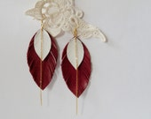 Leather feather earrings in burgundy and white with gold color copper chain - elegant. summer. cute. lovely. fancy. hot. red.