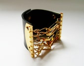 Black Leather Cuff - Black Leather Cuff Bracelet Wristband with Gold Color Brass Snaps - Unisex. Rock and Roll