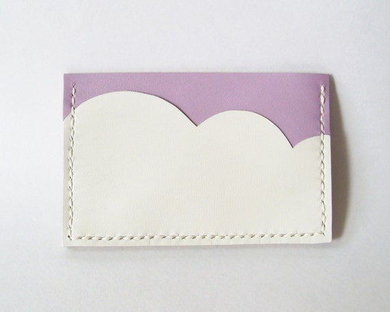 Business Card Holder - Leather Card Holder with Light Purple Sky and White Cloud - Handmade and Hand Stitched - Free Monogram