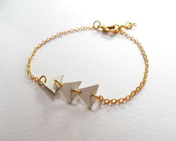 Trio Leather Triangle Bracelet - Gold Color Chain Bracelet with Three White Leather Triangle