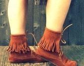 Vintage 1970s Minnetonka Ankle Fringe Brown Suede Moccasins