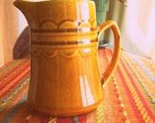 SALE Small Homer Laughlin - Golden Harvest Pattern Vintage Golden Brown Ceramic Cream Pitcher
