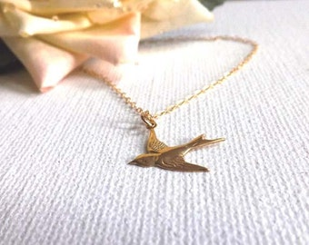 Gold filled bird on Gold-filled chain-simple, everyday wear