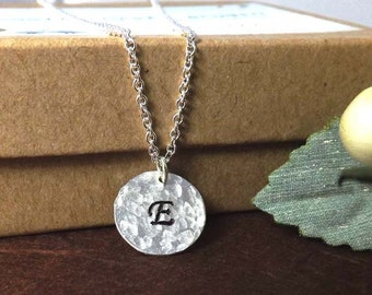 Pandent personalized necklace - Sterling Silver Minimal Necklace- Initial -Hand Stamped & hammered Initial Disc Charm
