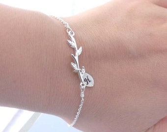 Personalized Chain Bracelet - initial leaf, branch chain bracelet - bridesmaid, friednship, wife, girlfriend, mother