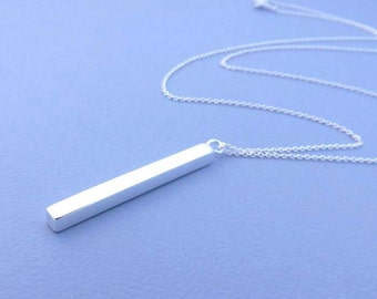 Silver Rectangle necklace-Sterling Silver Chain
