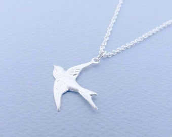 Pendant necklace-Sterling Silver bird necklace - Sterling Silver necklace-simple, everyday wear