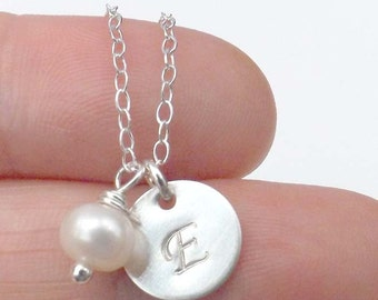 Personalized Initial Charm Necklace - sterling silver, pendant, monogram, bridesmaid, best friend