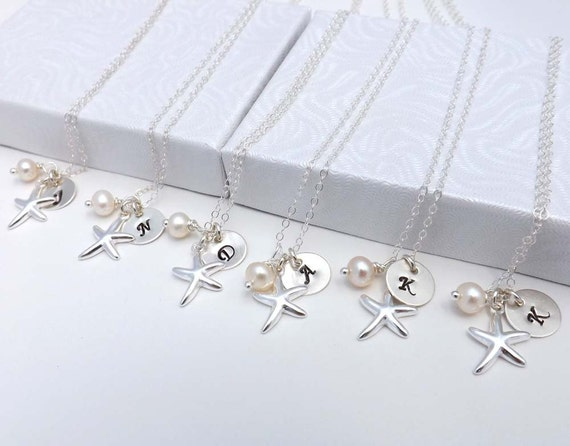 SET of 4,5,6,7,8,9,10, Bridesmaid, Bridal, Wedding, Personalized, Pearl, Sterling Silver Starfish, maid of honor gift, graduation gift