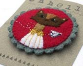 H U M A N I M A L handmade felt brooch - paper plane fox boy