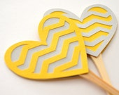 Yellow and Grey Chevron Heart Cupcake Toppers - Set of 12