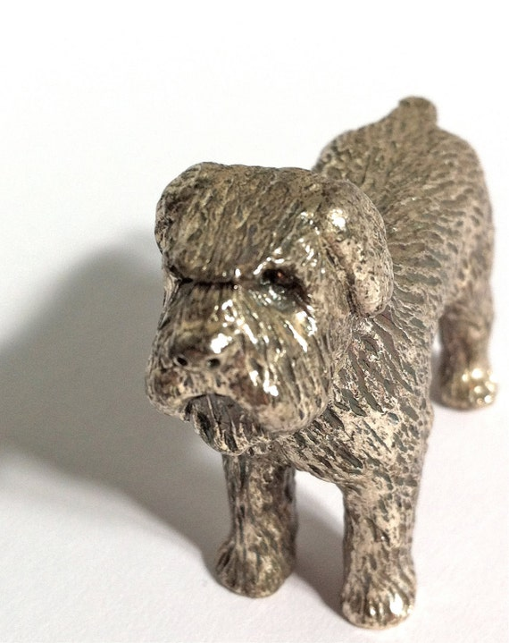 Dog Paperweight Statue. Vintage Silvertone Metal Ornament.